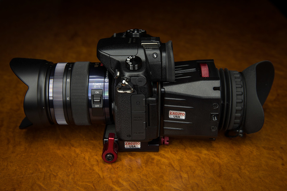 Panasonic GH4 fitted with Zacuto Z Finder Pro - side on