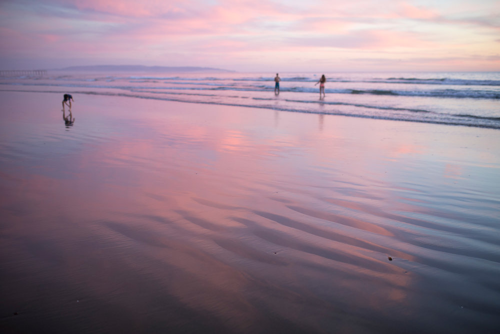 Pismo beach beautiful pink sunset