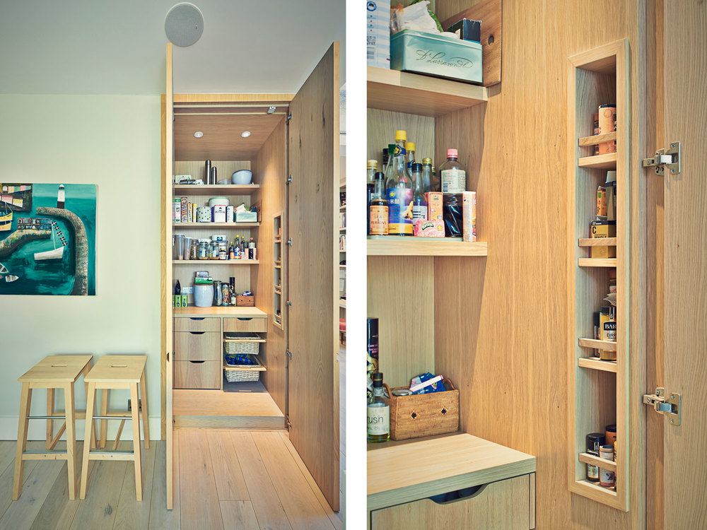 Huron Road – a built-in larder unit with oak timber and veneer