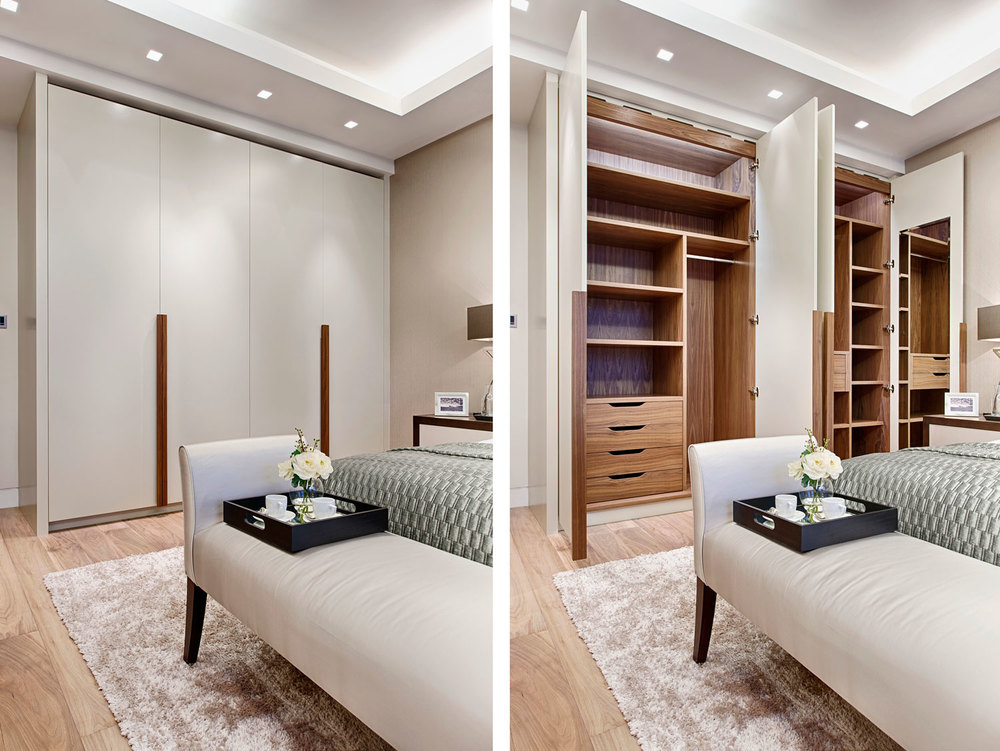 Courtfield Gardens – a master wardrobe with solid walnut handles and veneered interior