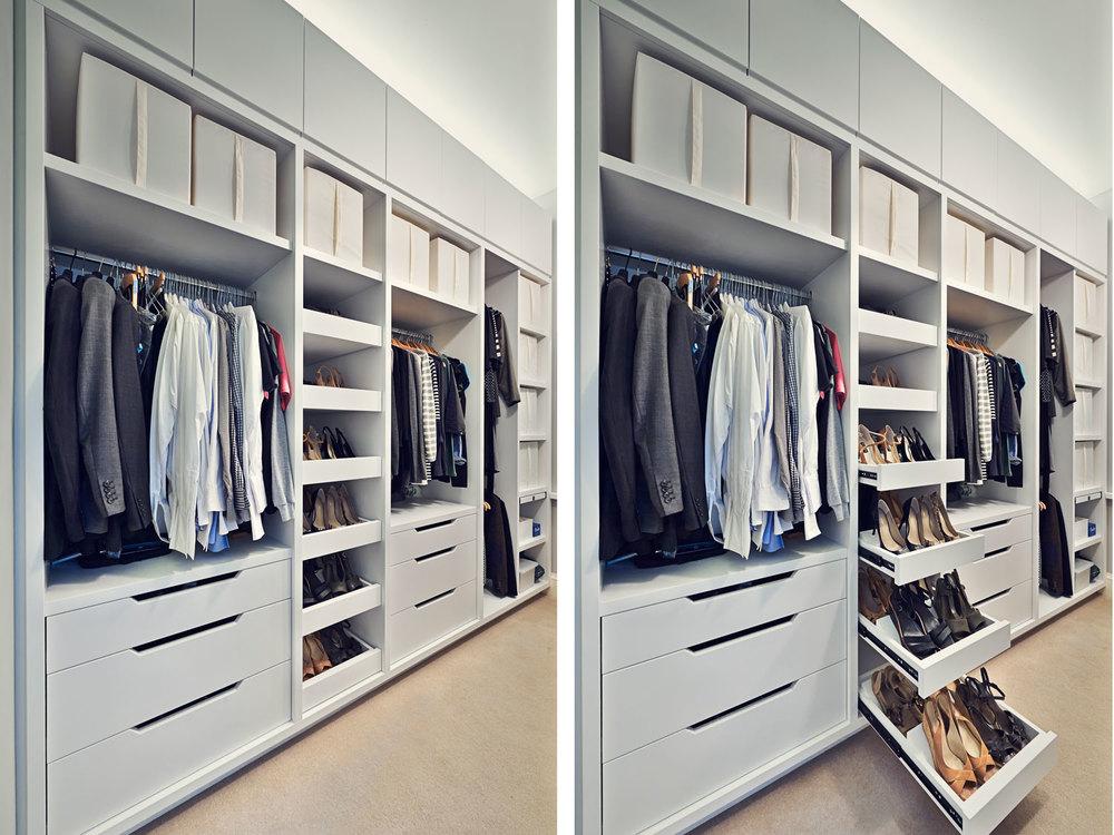 York Mansions – a stylish walk-in wardrobe in a plain white finish