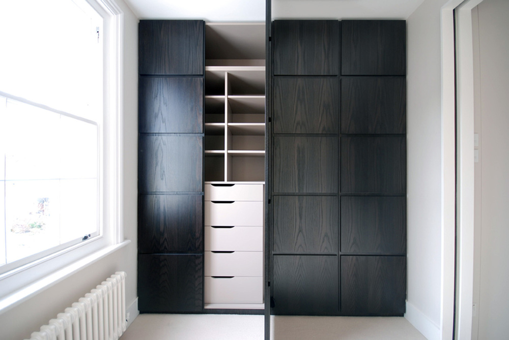 Earls Court – elegant master wardrobes, with a combination of smoked oak and plain finishes