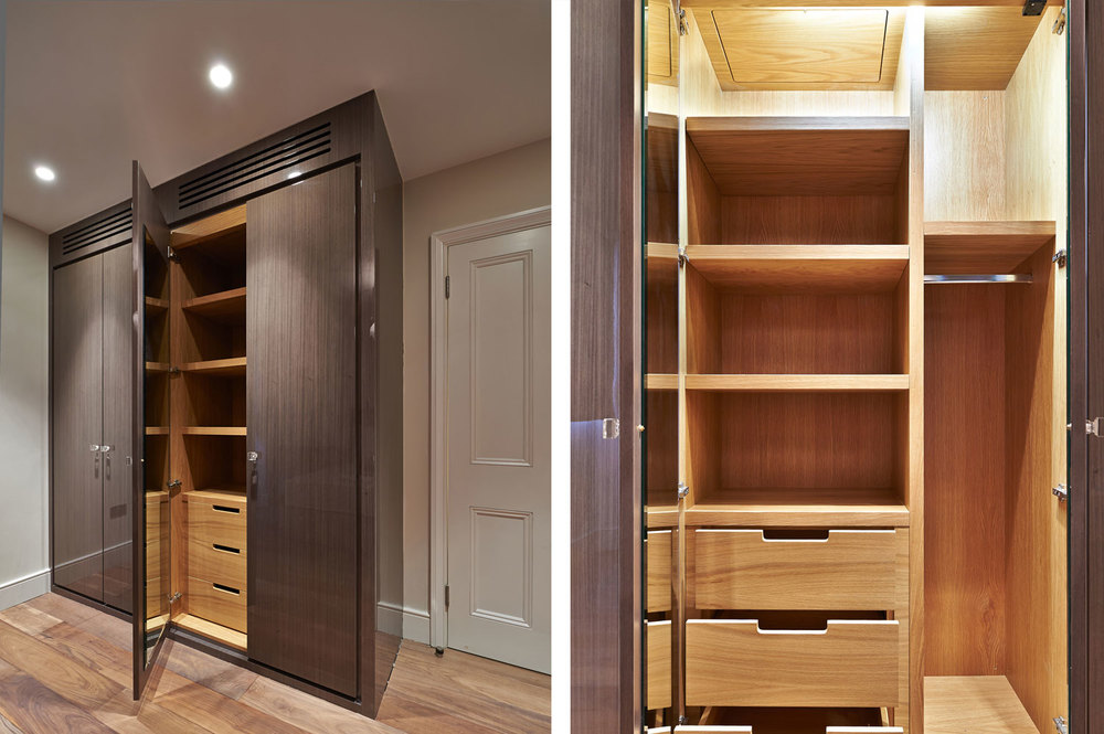 Thurloe Square – a chic spare bedroom wardrobe in high gloss lacquered dyed koto veneer