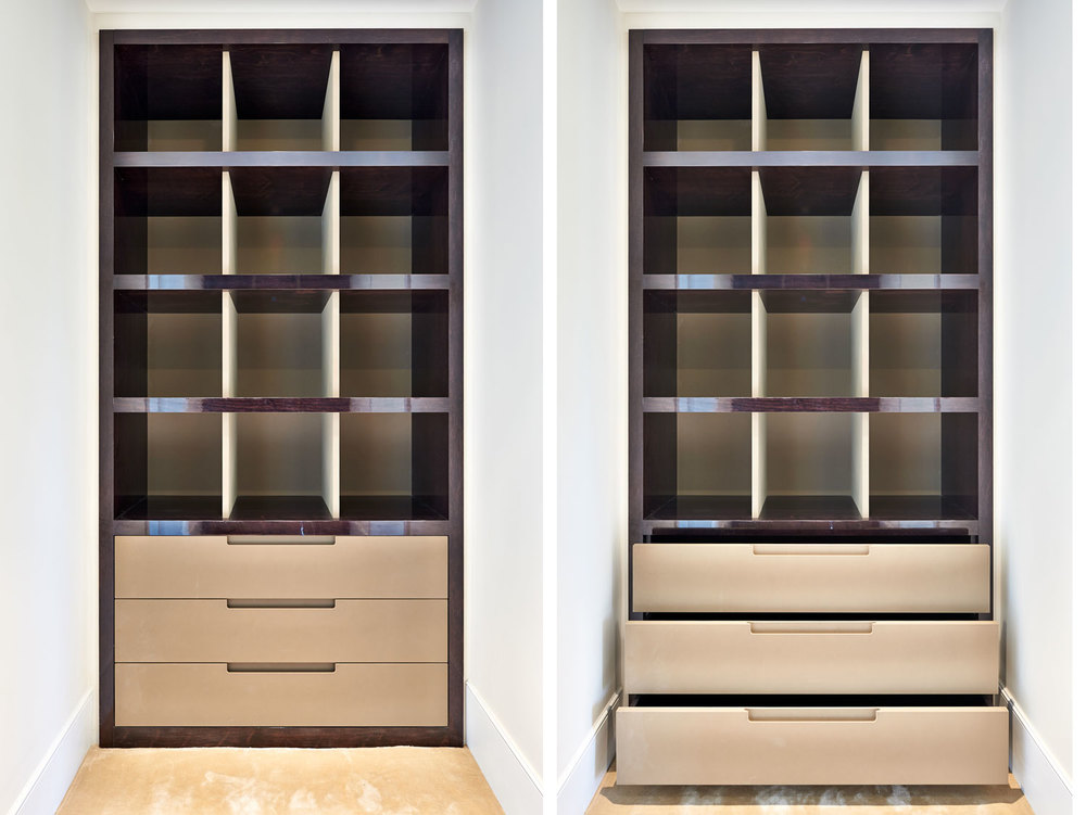 Thurloe Square – a dressing room in dark walnut, with suede coated drawers