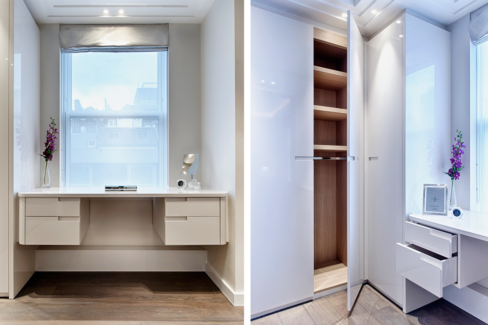 Hans Place – master bedroom wardrobes with contemporary, recessed handles and a high gloss finish