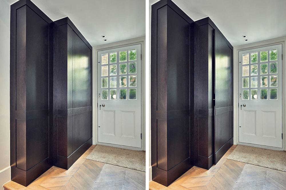 Neville Terrace – push-to-open storage cupboard in a smoked oak finish