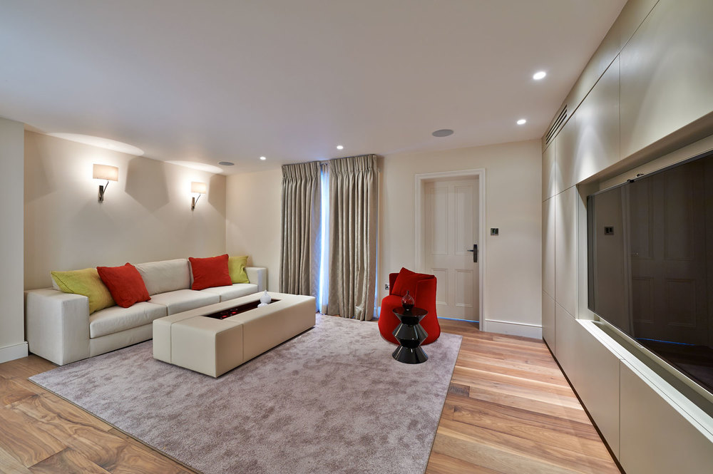 Thurloe Square – a basement media unit with a subtle matt finish