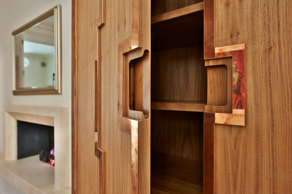 Thurloe Square – a cabinet in pale walnut, with real bronze inlaid strips