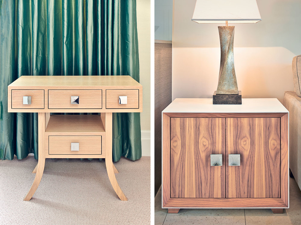 Wimbledon Village – an elegant bedside table in oak and a modern side cabinet made in walnut with a flat matt finished exterior