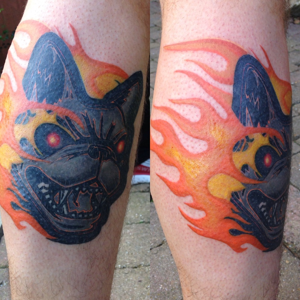 download music festival dog and flames symbol tattoo by Mel Hanson