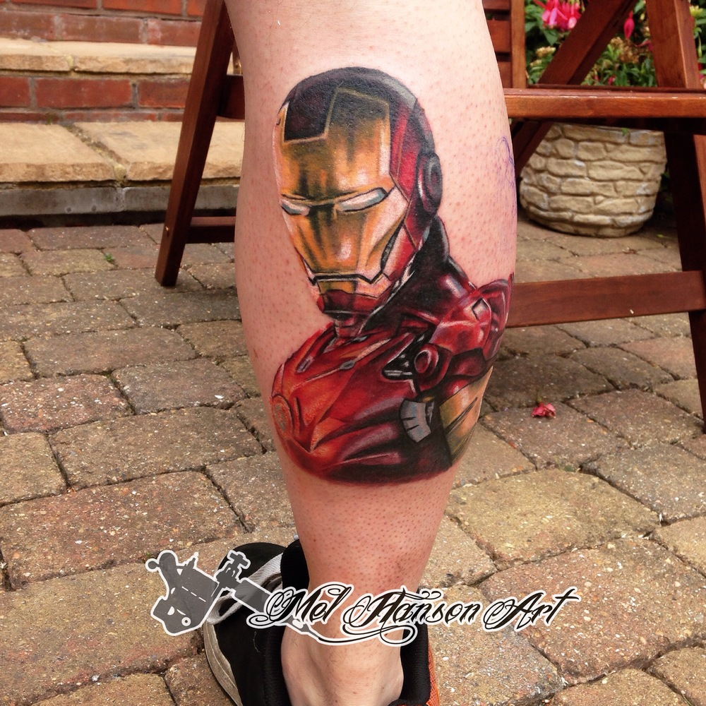 colour realistic marvel iron man tattoo
