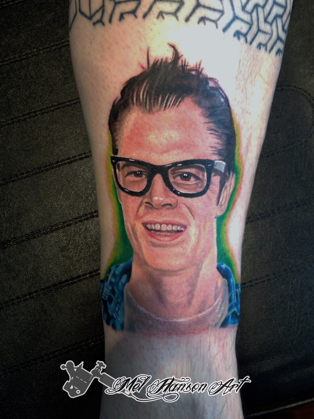 Johnny Knoxville colour realistic portrait tattoo
