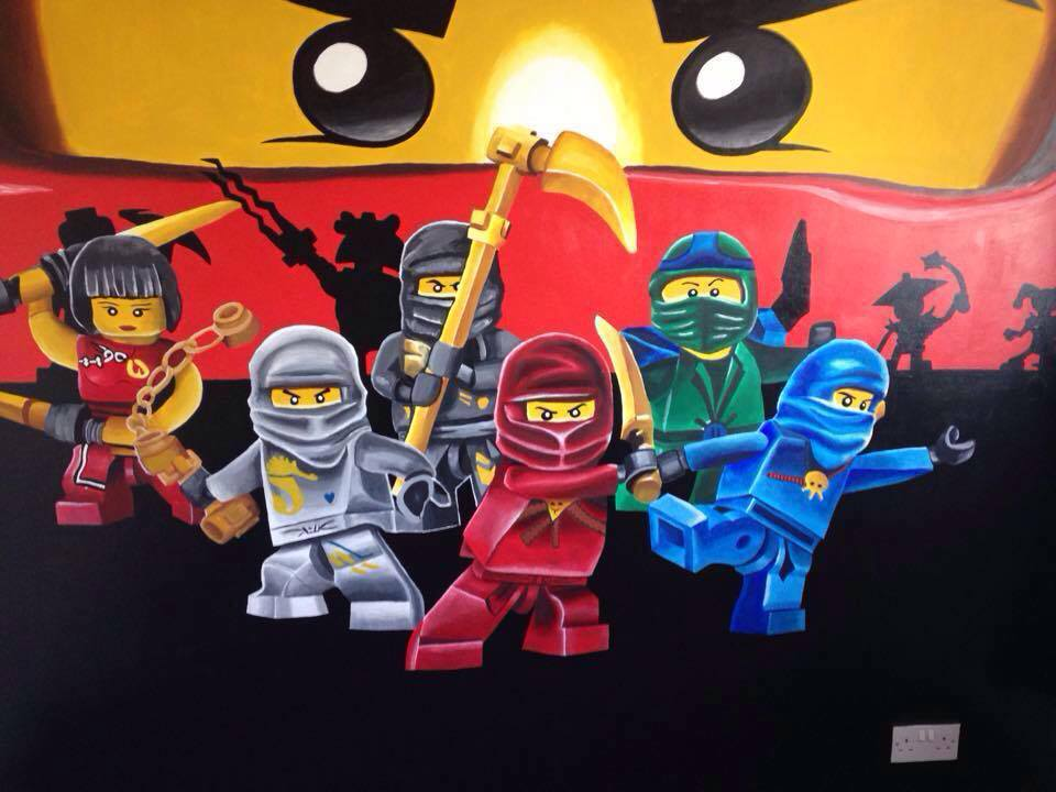 Lego Ninjago Mural done June 2015 using acrylic paint. With assistance from my younger sister Nazine, this mural takes up a whole bedroom wall as was made for our 4 year old cousin. It took 1 week to complete.