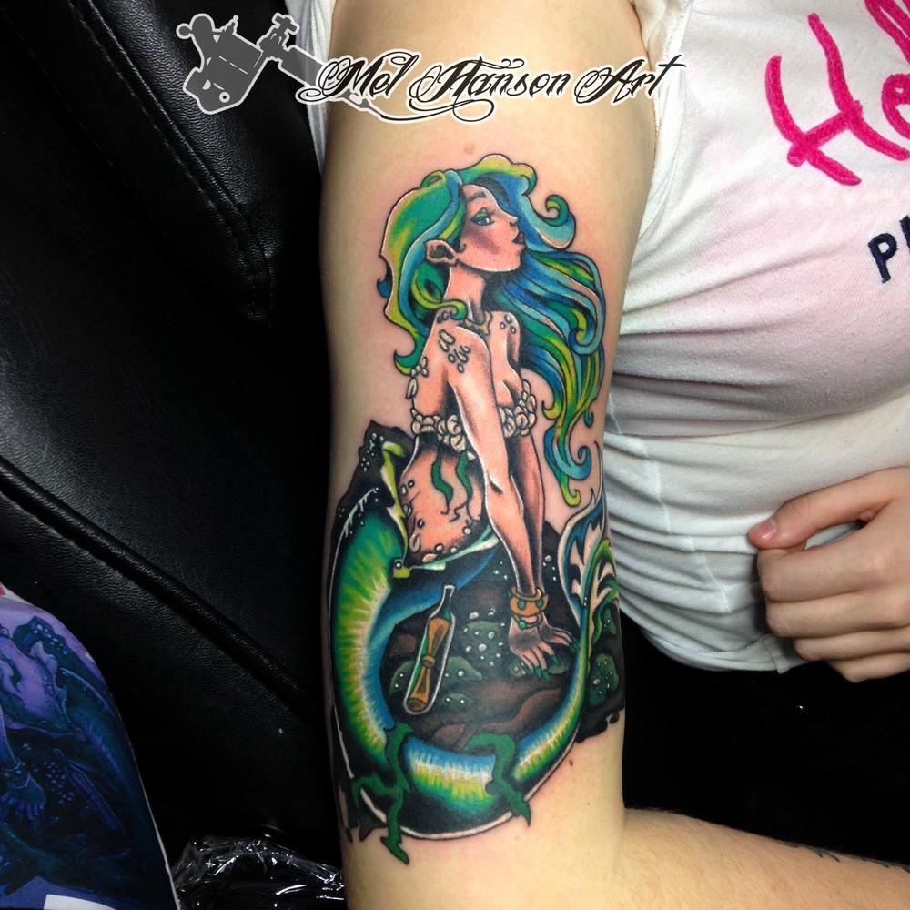 Colourful mermaid tattoo by Mel Hanson