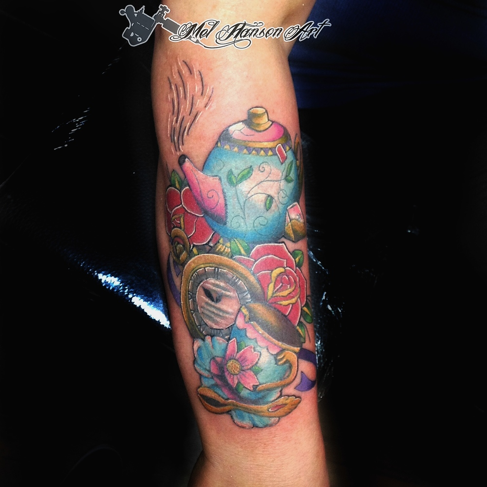 colourful tea pot tea cup and pocket watch with roses tattoo by Mel Hanson