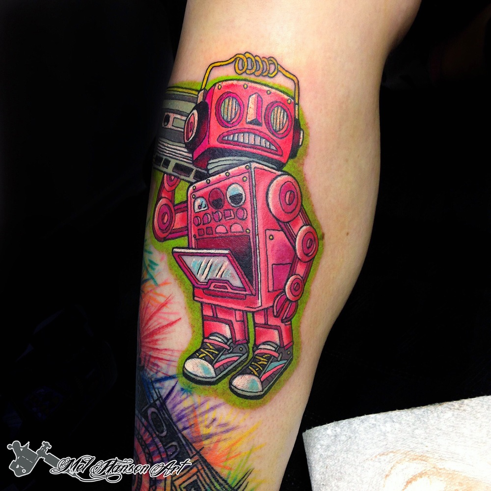 pink robot eno traditional tattoo by Mel Hanson