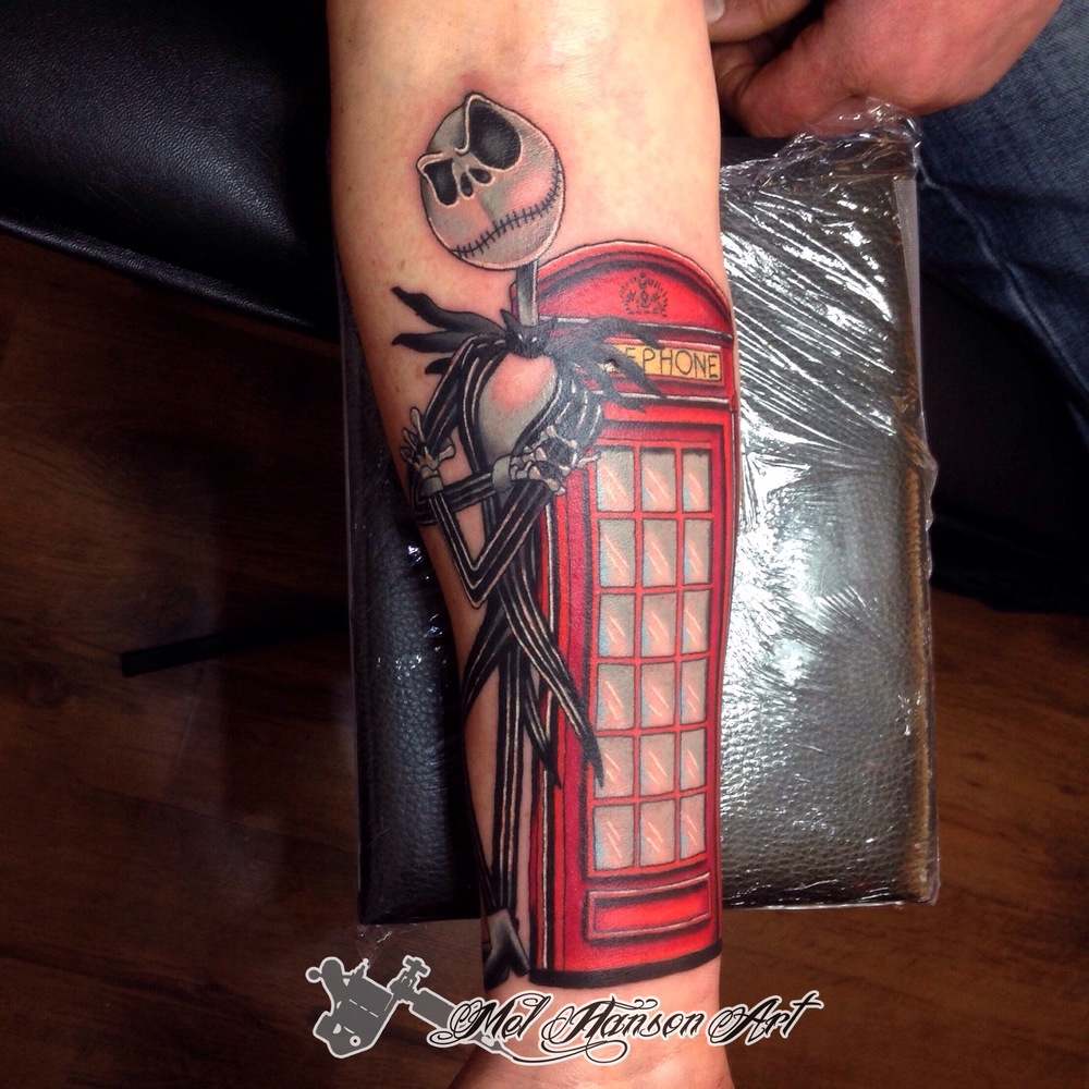 Nightmare before christmas Jack Skellington and british red phone box tattoo by mel hanson
