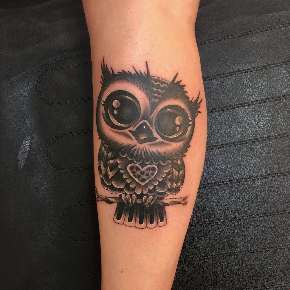 Cute new school owl black n grey design tattoo by mel hanson