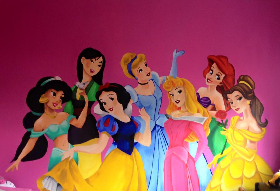 Disney princess mural painted in a family spare room as a treat for the gran children. Made by myself and my little sister Nazine Hanson.