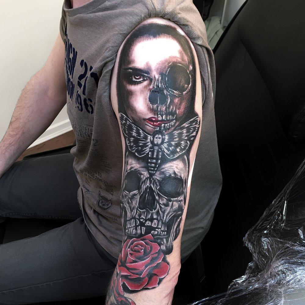 black and grey horror sleeve in progress by Mel Hanson