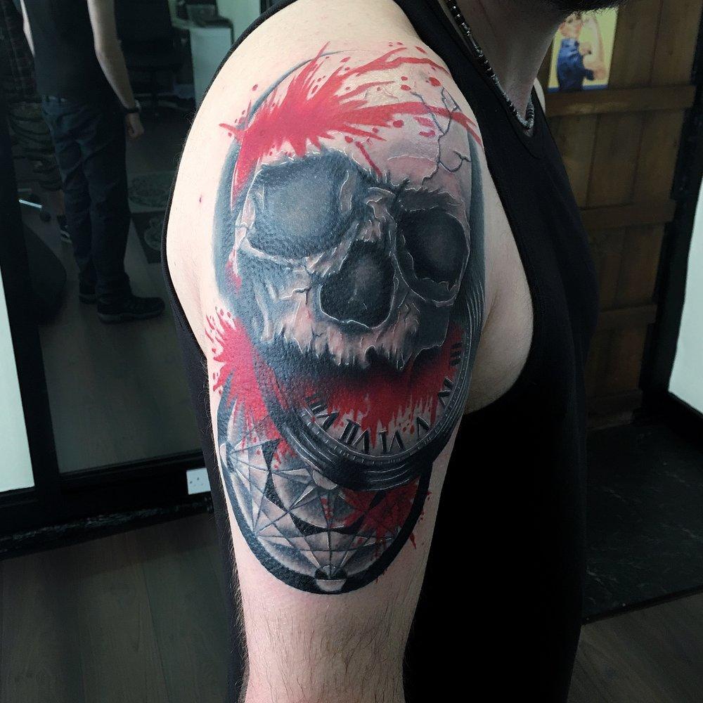 trash polka skull and watch by mel hanson