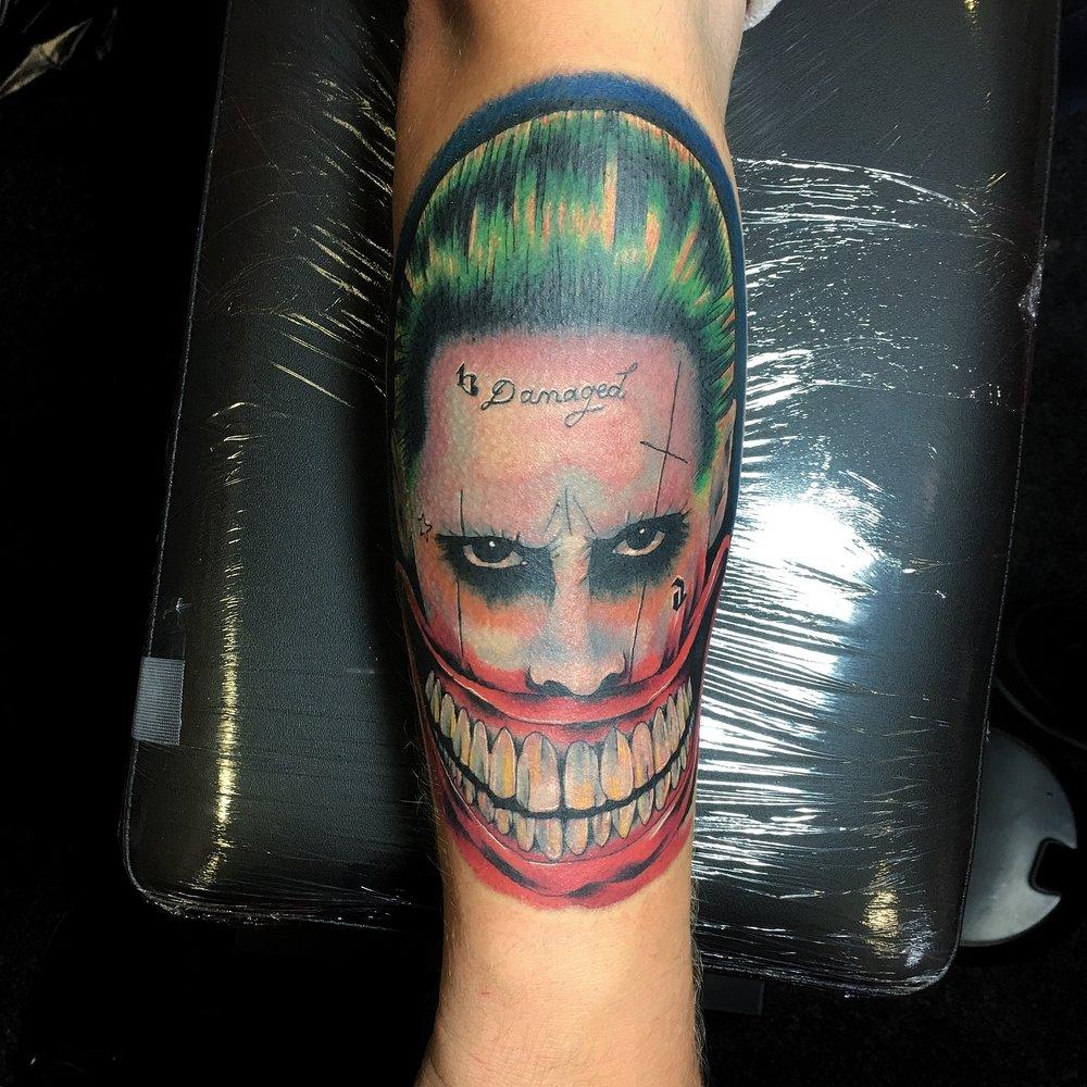 colour jared leto joker tattoo by mel hanson