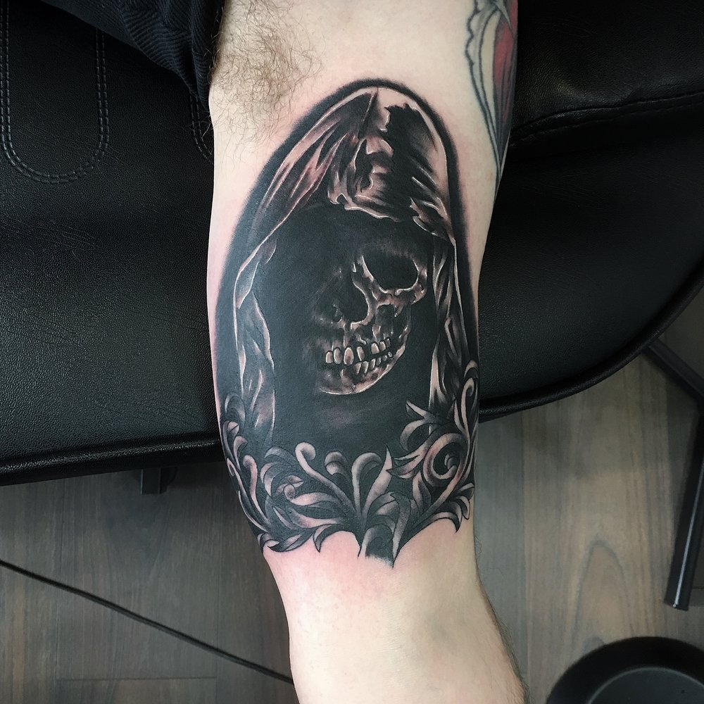 black and grey skull grim reaper by mel hanson