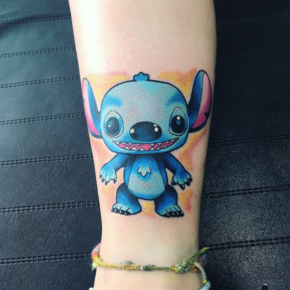 stitch pop toy colour tattoo by mel hanson
