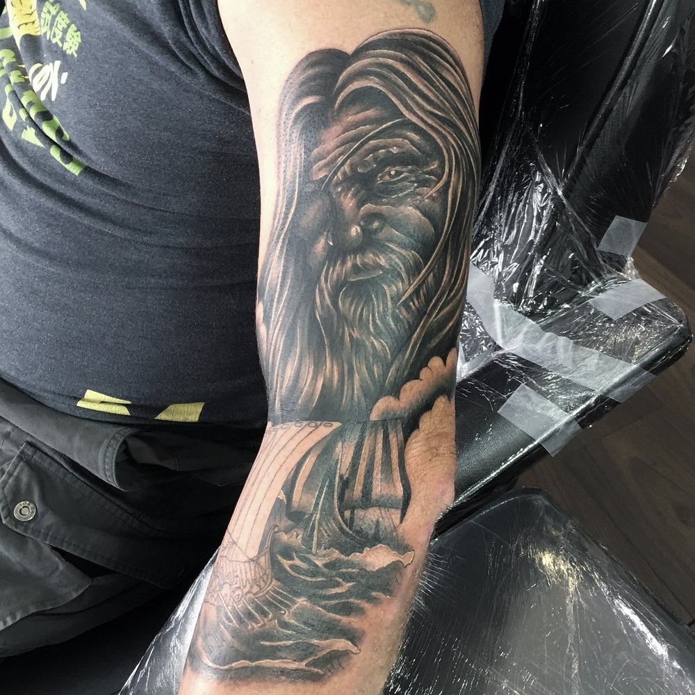 god odin thor norse black and grey portrait and long boats by mel hanson
