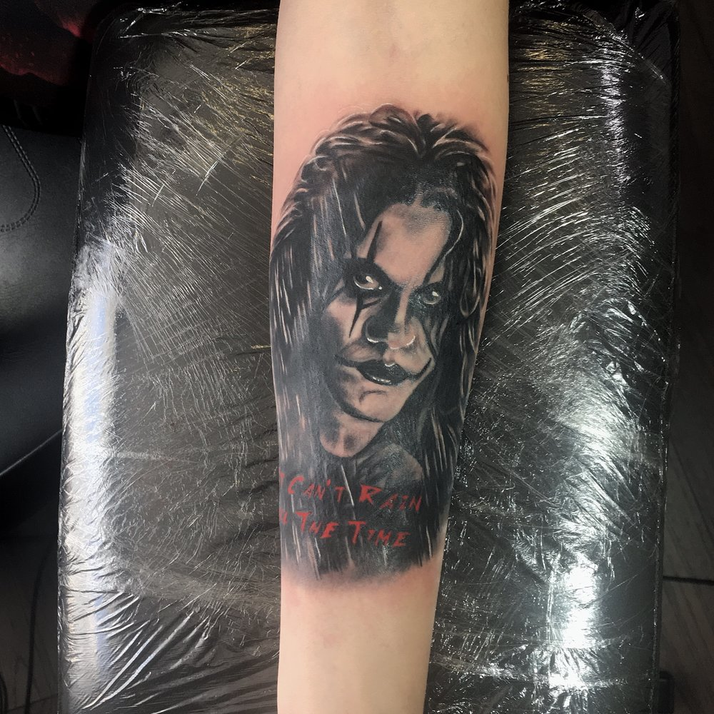 the crow eric draven brandon lee black and grey portrait tattoo by mel hanson