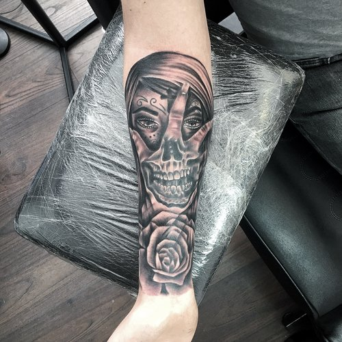 57b7ecd1e Black and grey day of the dead skull woman realistic portrait by Mel Hanson  at Mel's