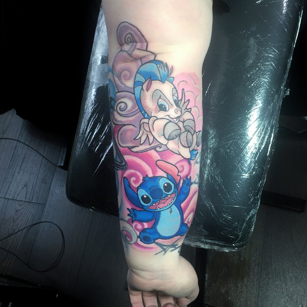 Colourful Disney Stitch and Pegasus tattoos by Mel Hanson at Mel's Tattoo studio, milton regis, Sittingbourne, Kent UK