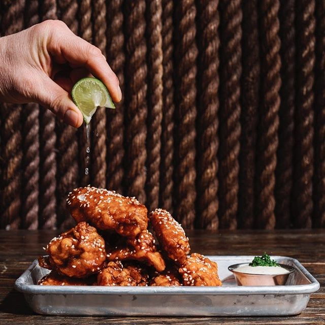 Twice fried wings, Korean chili , lime @beetlecatatl and @andrew.isabella Nice pic by @andrewthomaslee