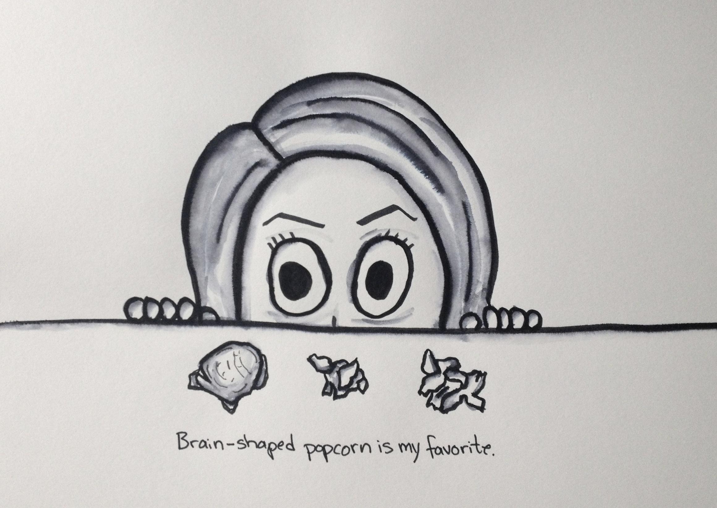 Brain-shpaed popcorn