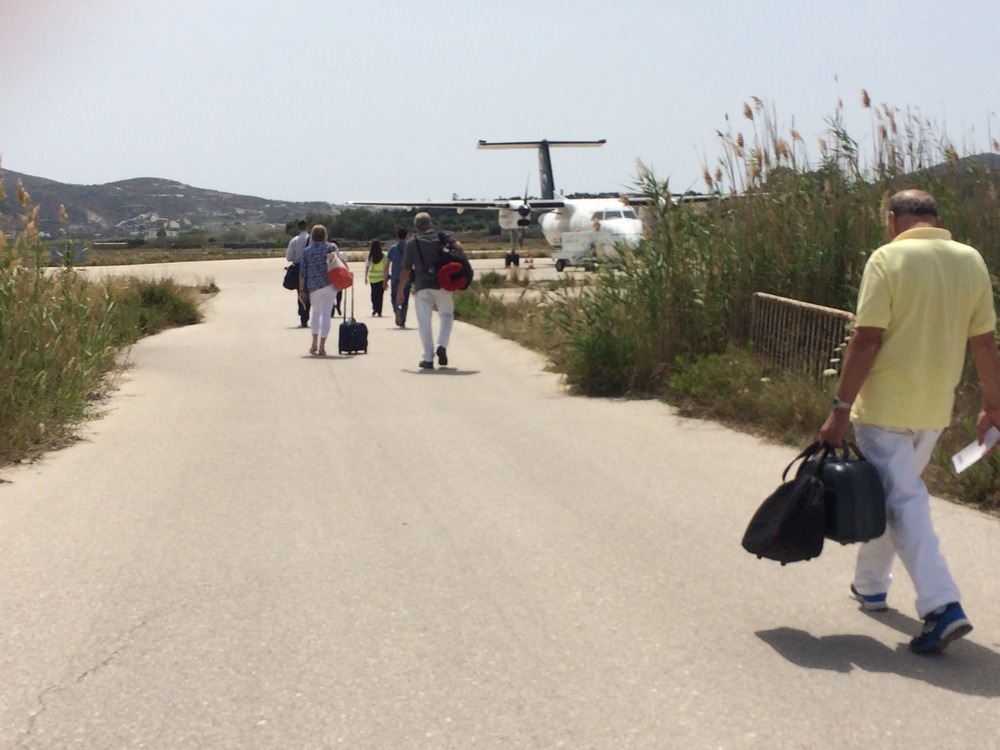 Milos airport, tiny prop plane