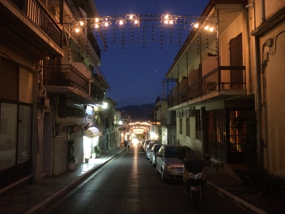 Streets of Delphi at night.