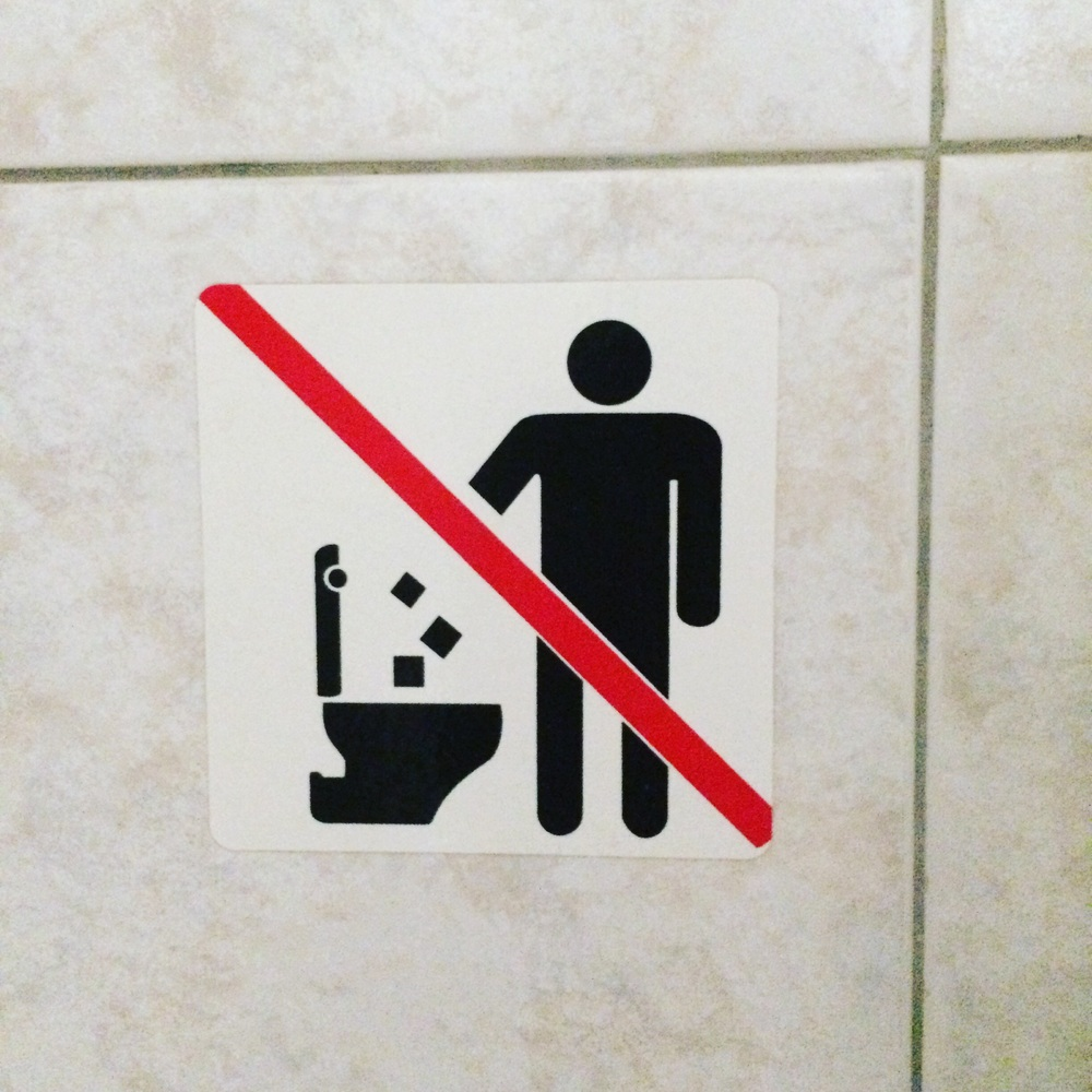 They'll cut your arm off if you put squares in the toilet.