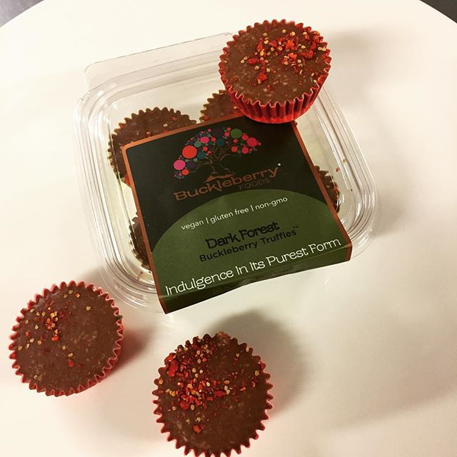 Stay warm and comfy in this nor'easter with some Dark Forest truffles! Grab some at Whole Foods and stay safe! #buckleberryfoods #glutenfree #vegan
