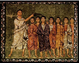 Samuel Anointing David, Dura-Europos Synagogue, 3c, National Museum of Damascus, Syria.