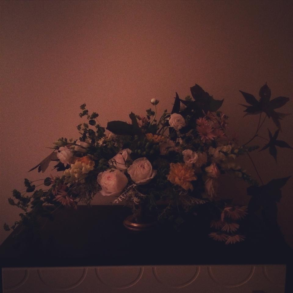 Autumn arrangement by Passiflora, 2014.  Mostly from the garden with roses and ranunculus mixed in.