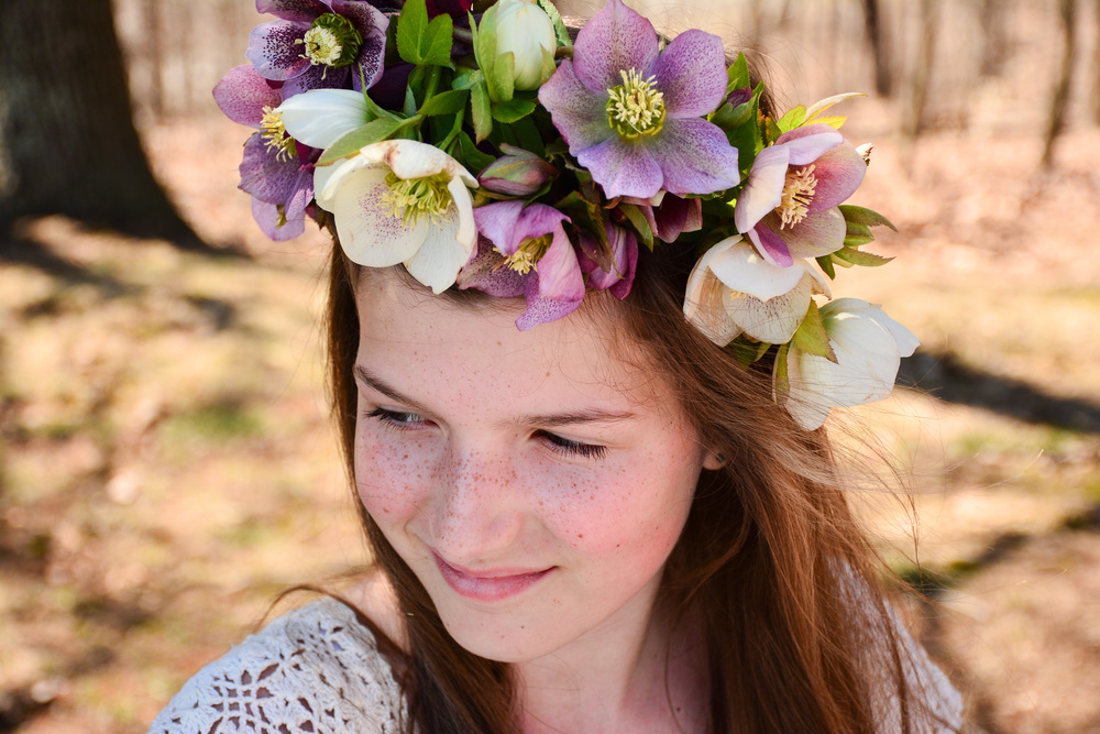 I adore how Hannah's freckles match the freckles on the hellebores.  Photo by Anastasia Yost.