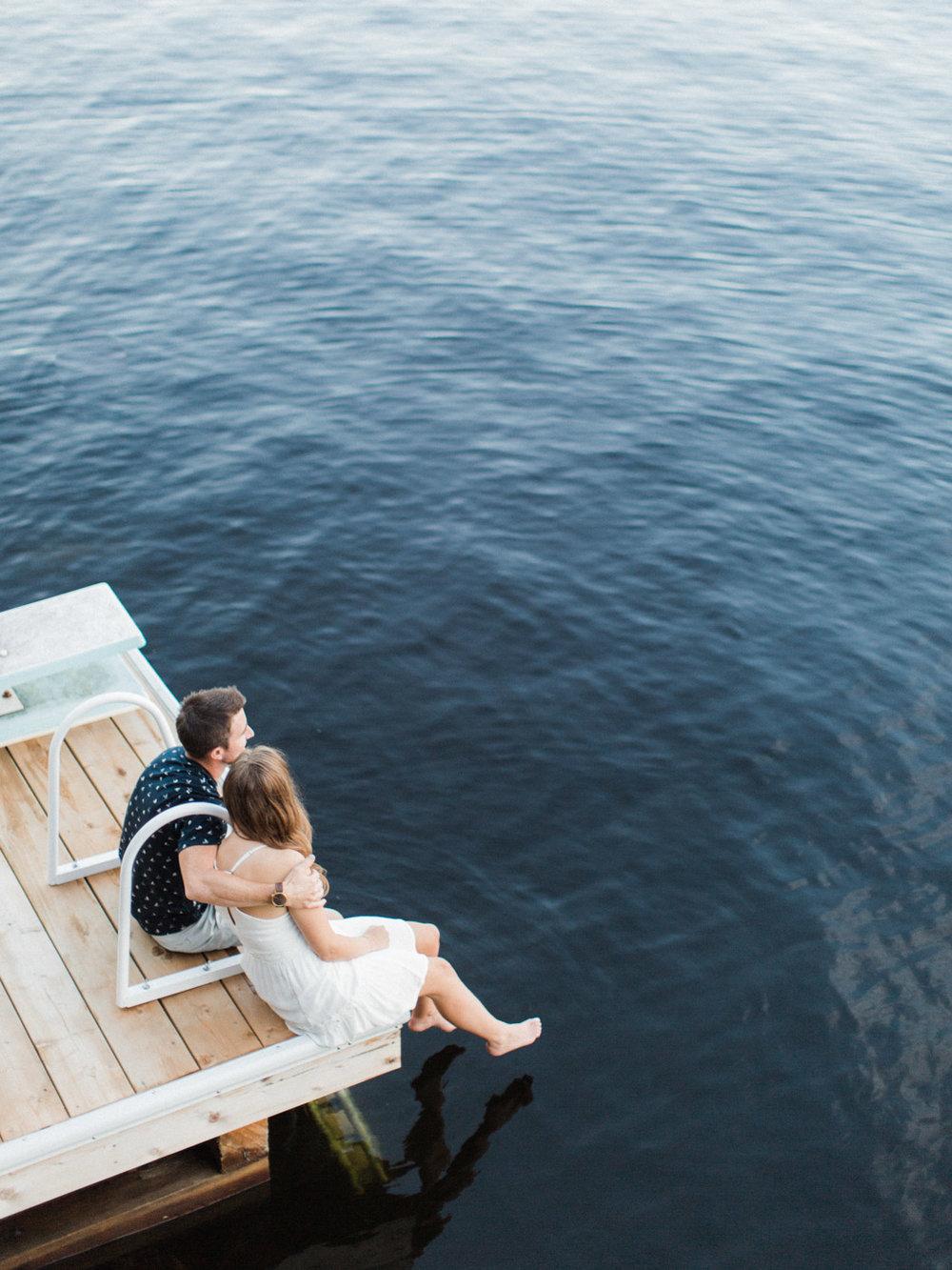 Muskoka engagement session on the dock