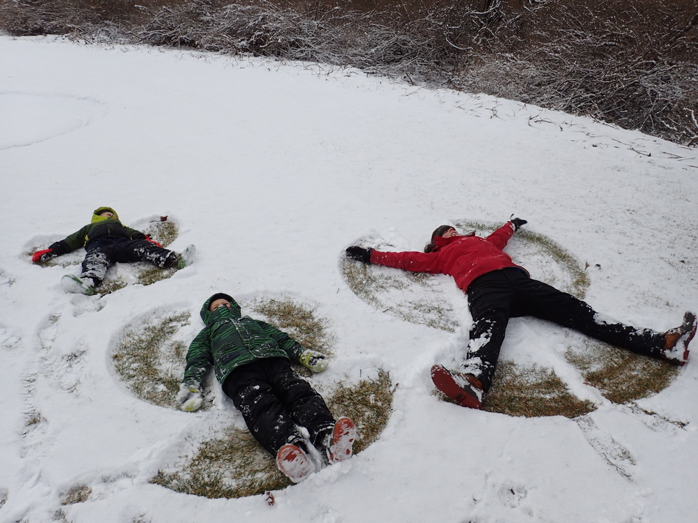 Snow angels with Deneen.