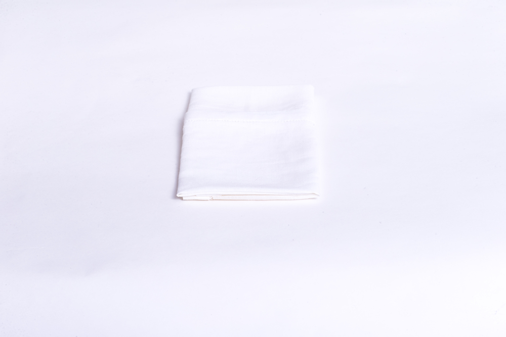 Hemstitched Linen - White