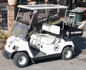 By adding a 120-watt solar photovoltaic roof to the Stone Cup golf cart, we haven't had to plug in yet! For information on how you can solarize and UNPLUG your golf cart, RV or boat, click here.