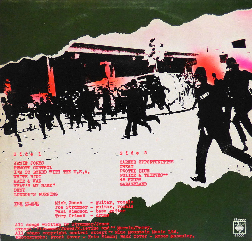The Clash's first LP, reverse side, design by Caroline Coon.