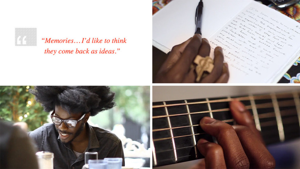 Collage of moments from the Jesse Boykins shoot.
