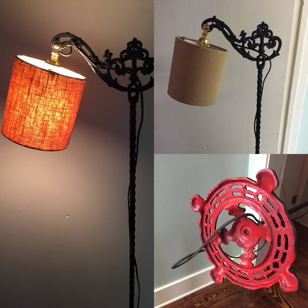 Restored and painted antique bridge lamp with a custom handmade linen shade