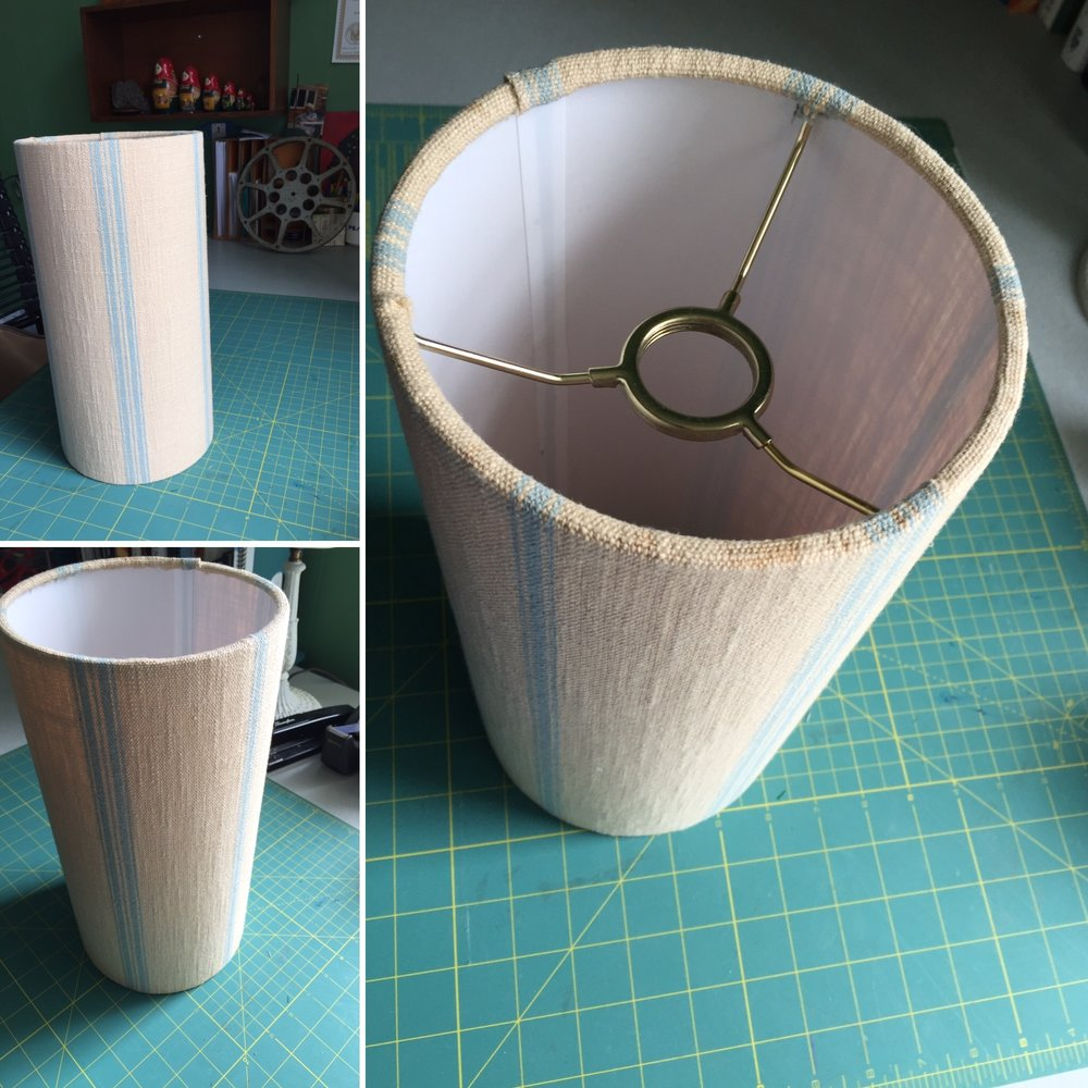 Handmade linen drum shade.