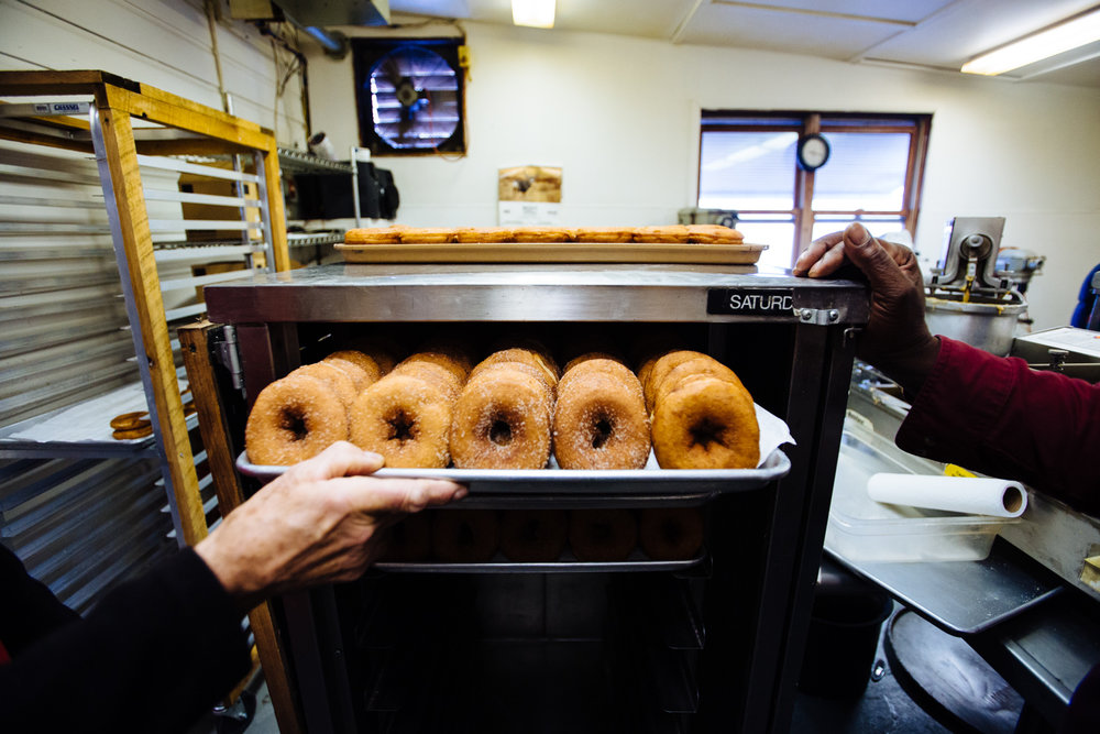 Golden Harvest offers a classic plain version of its cider doughnut, but the cinnamon-sugar variety is an extra-hot commodity.